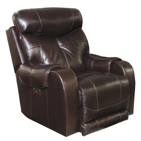 Catnapper Venice Top Grain Leather Touch Power Headrest Power Lay Flat Recliner in Chocolate
