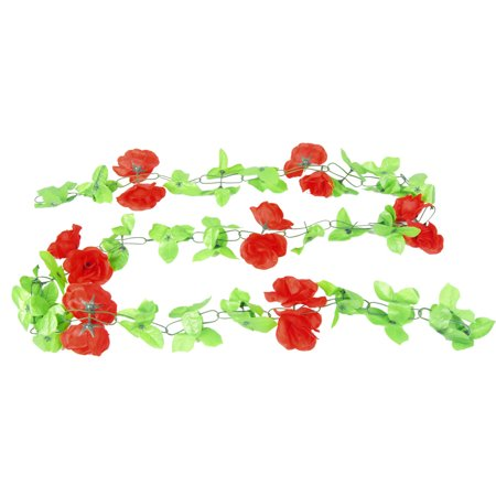 Red Roses Green Leaves Artificial Flowers Bouquet Ornament