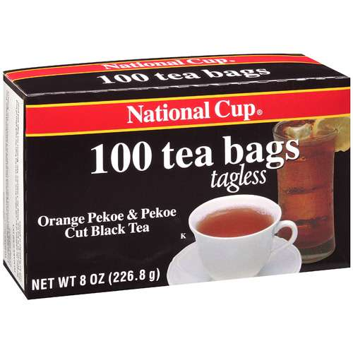 National Cup Orange Pekoe & Pekoe Cut Black Tea Bags Tagless, 100 ct
