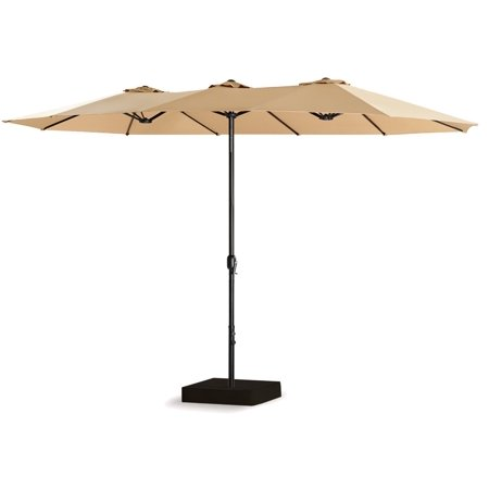 15 Ft Double-Sided Outdoor Market Umbrella 12 Ribs, Crank System, 100% Polyester, Base Included (Beige)