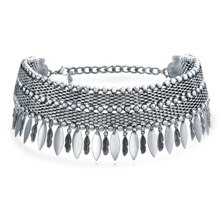 Native American Southwestern Style Dangling Feather Choker Rhodium Plated Necklace 12 Inches