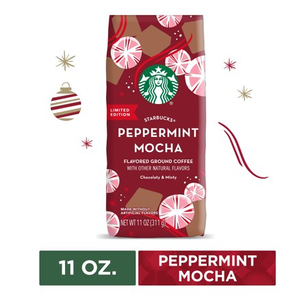 Starbucks Peppermint Mocha Flavored Medium Roast Ground Coffee, 11 Oz. Bag | Chocolaty & Minty Notes