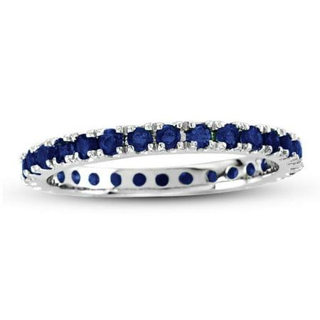 14K White Gold Sapphire Eternity Band Ring