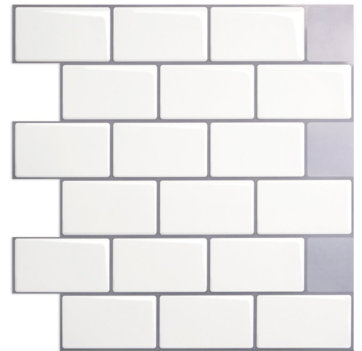 "12""x12"" Peel and Stick Backsplash Tile for Kitchen, White (10 Sheets)"