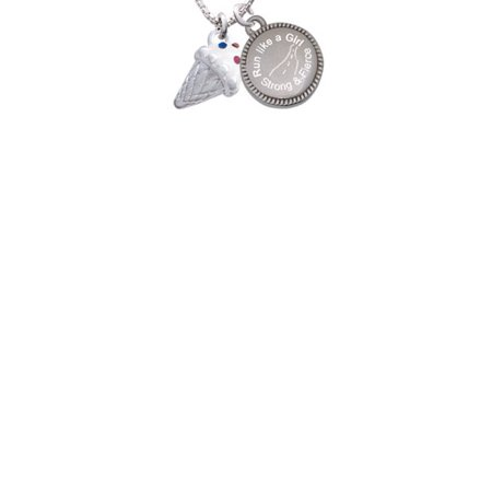 3-D Vanilla Ice Cream Cone with Crystal Sprinkles Run Like a Girl - Strong and Fierce Engraved Necklace - Vanilla Girl