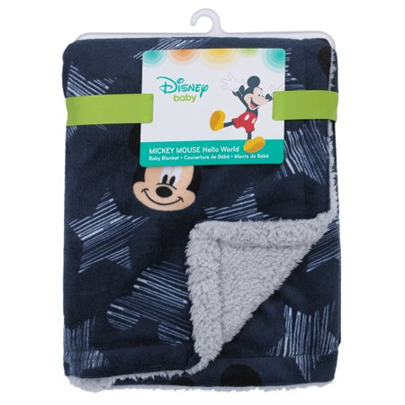 Disney Mickey Mouse Hello World Star/Icon Super Soft Double Sided Velour/Sherpa Baby Blanket