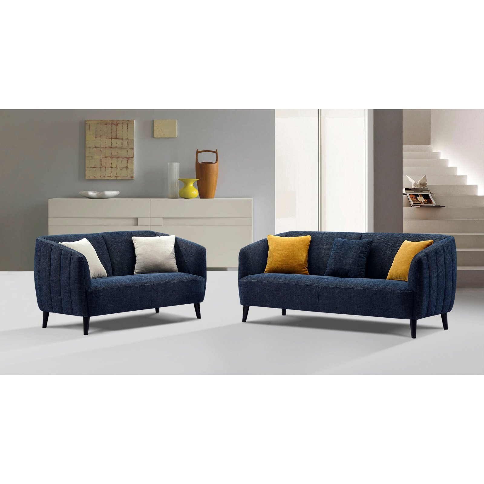 Diamond Sofa DeLuca Fabric Sofa And Loveseat Set   Midnight Blue