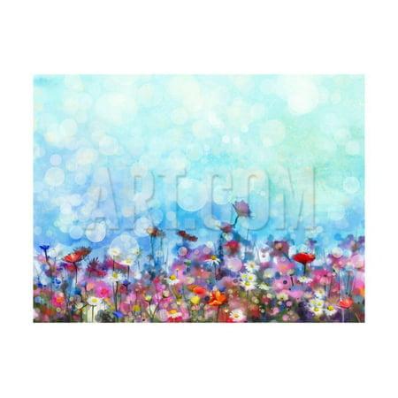 Watercolor Painting Purple Cosmos Flower, White Daisy, Cornflower, Wildflower. Flowers Meadow, Gree Print Wall Art By - Watercolor Daisy