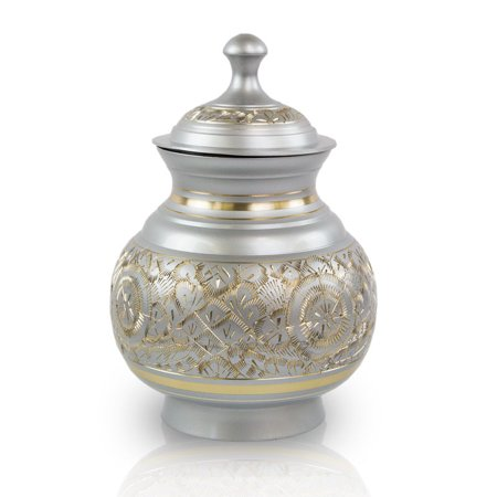 (Bronze Pet Urn - Medium 70 Pounds - Etched Silver Timeless Etched - Engraving Sold Separately)