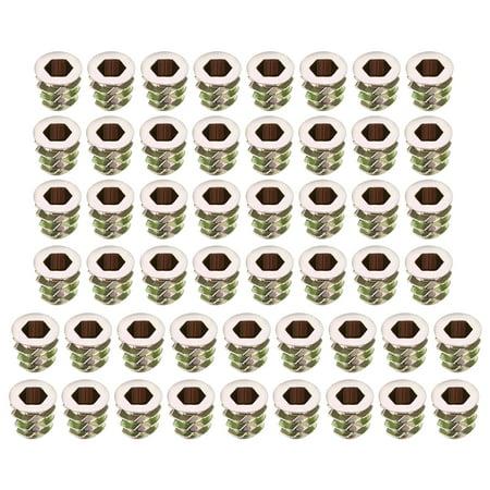 Uxcell M5 Internal Threads 10mm Length Threaded Zinc Alloy Insert Nuts Hex Socket (50-pack)