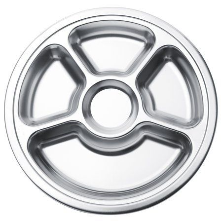 Aspire Reusable Lunch Tray / Dinner Plate For Cafeteria, Stainless Steel, Round, 1 Pc-5 Sections ()