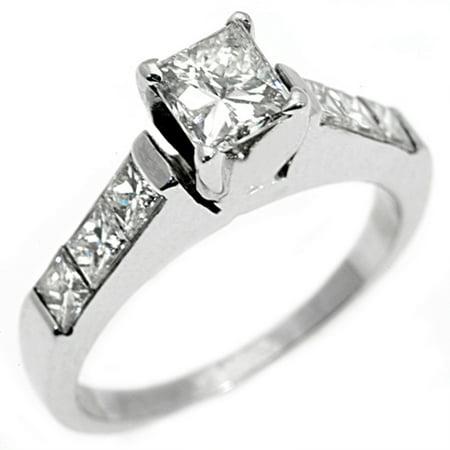 18k White Gold 1 Carat Princess Cut Diamond Engagement Ring