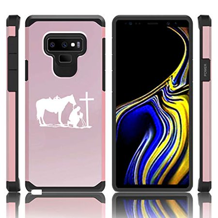 Cross Galaxy (Shockproof Impact Hard Soft Case Cover for Samsung Galaxy (Note 9) Cowboy Praying Cross Horse)