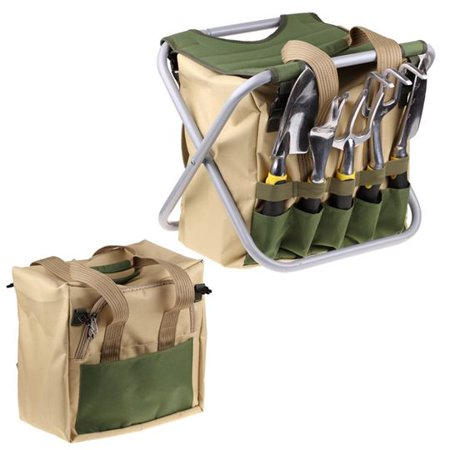 Garden tools 7 pieces set kit with stool chair tote bag for Gardening tools kit set