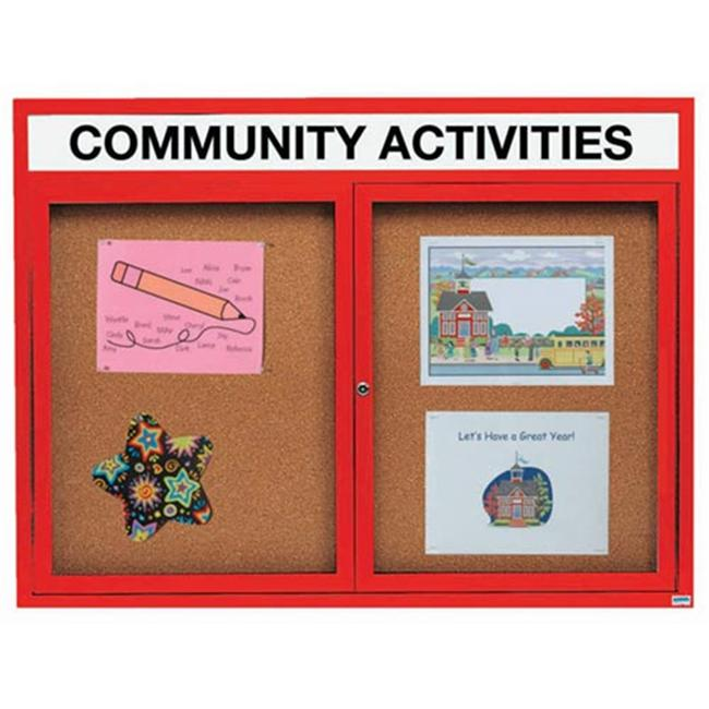 Aarco Products DCC4860RHIR 2-Door Illuminated Enclosed Bulletin Board with Header - Red