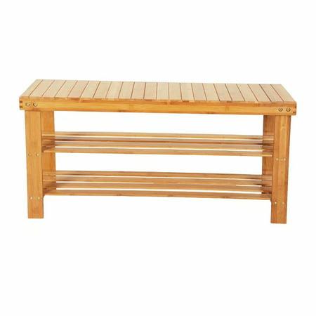 Shoe Rack Bench, 3 Tiers Bamboo Shoe Organizer Entryway Seat Storage Shelf Bathroom Living Room Organizer Shelf (Wood Color) (Wood Shoe Shelves)