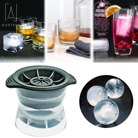 GustaveDesign 3D Round Ice Cube Mold Tray DIY baking Ice Ball Tray Maker For Cocktails & Whiskey - Pack of 1