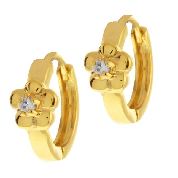 1/2 Inch Flower Cubic Zirconia CZ Huggies Hoop Yellow Gold Plated Earrings