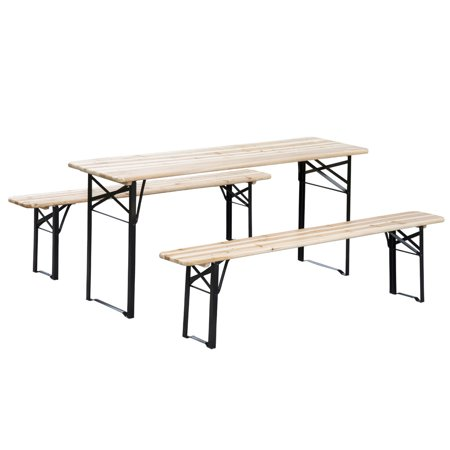 Outsunny 6' Wooden Folding Picnic Table Bench Set Outdoor Wooden Picnic Tables Benches