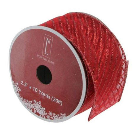 Christmas Wired Ribbon (Red Wired Christmas Craft Ribbon 2.5