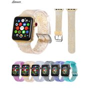 Spencer Women Men Bling Glitter Replacement Watch Band Silicone Sport Wristband Strap For Apple Watch iWatch Series 4 & 3 & 2 & 1(38mm,Black)