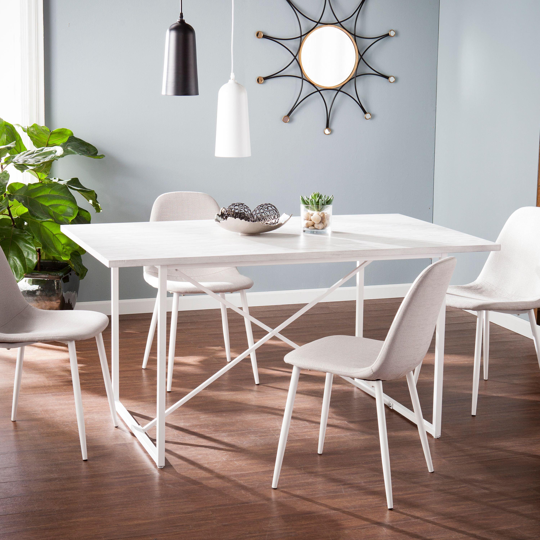 Southern Enterprises Carew Dining Table, White-Grained Burnt Oak w/ Dark Walnut and Antique Bronze