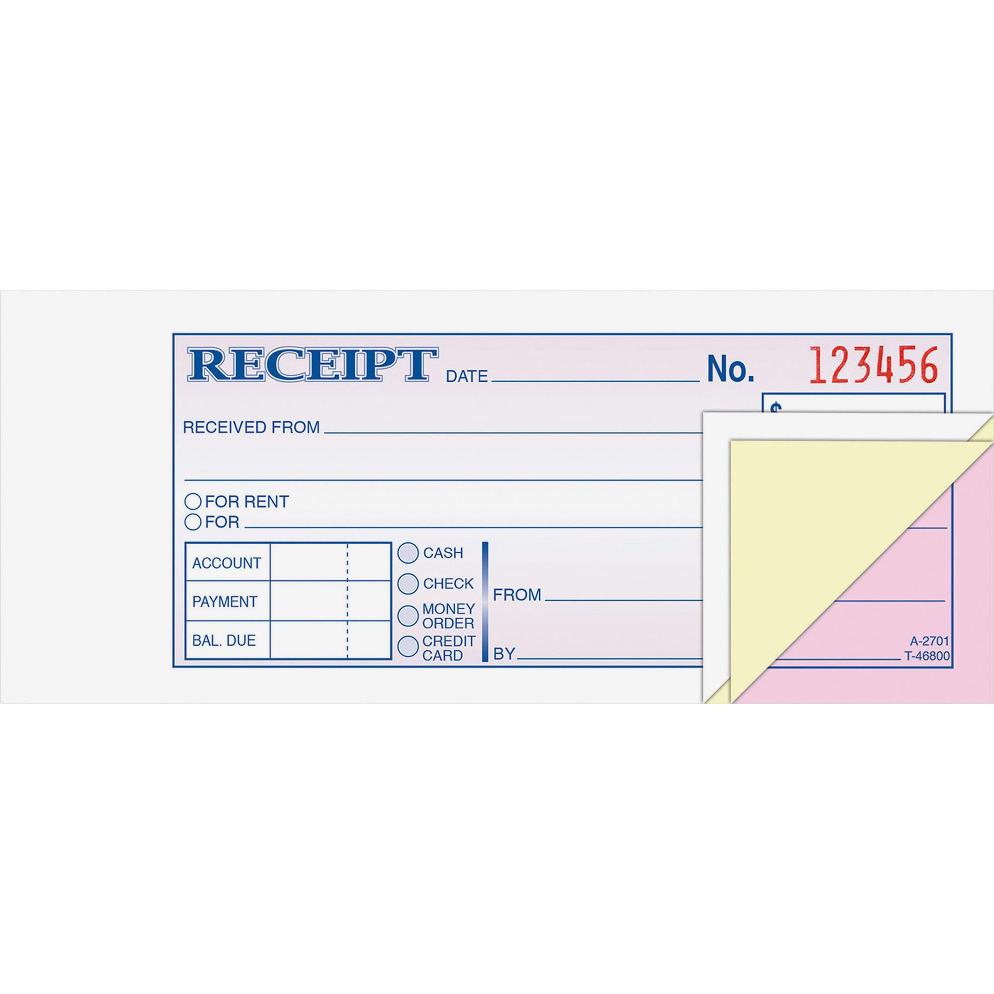 Adams Receipt Book, 2 3 4 x 7 3 16, Three-Part Carbonless, 50 Forms by TOPS Products