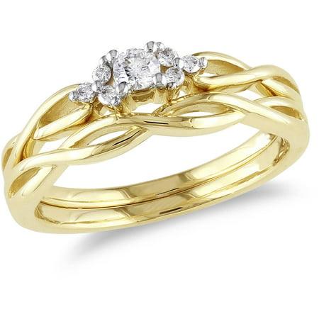 1/6 Carat T.W. Round Diamond 10kt Yellow Gold Braid-style Bridal Set