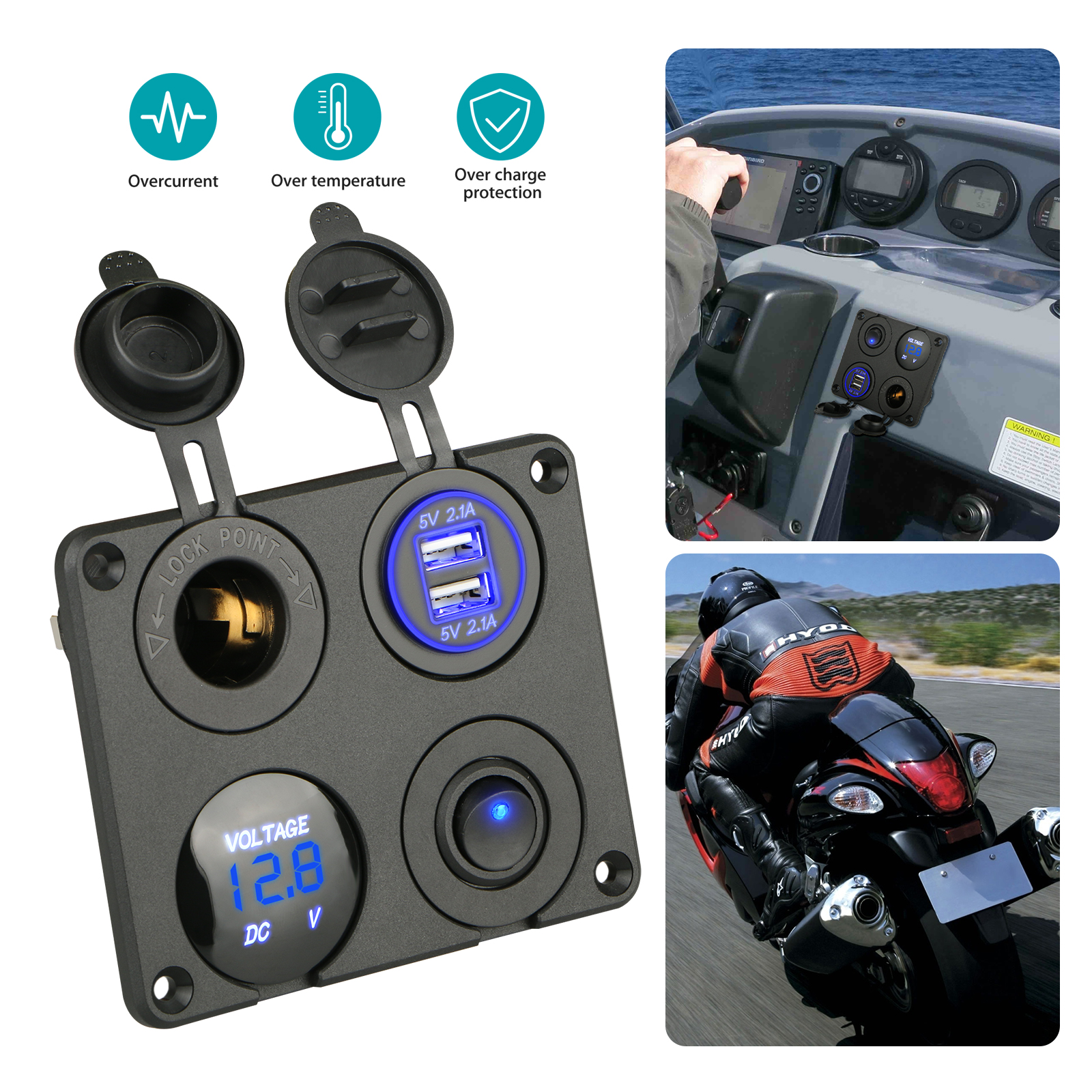 4 in 1 Dual USB Socket Charger 2.1A & 2.1A + LED Voltmeter + 12V Power Outlet+ ON-Off Toggle Switch, Multifunction Panel for Car Boat Marine RV Truck Camper Vehicles GPS Mobiles (Blue)