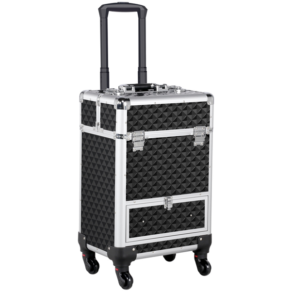 Aluminum Cosmetic Makeup Train Case with 4 Retractable Trays & 1 Smooth Sliding Drawer, Black