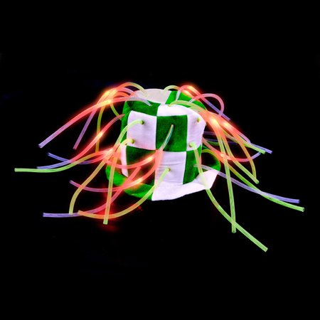 St Patricks Day Light-Up Tentacle Stove Top Hat Green Costume Party Wear