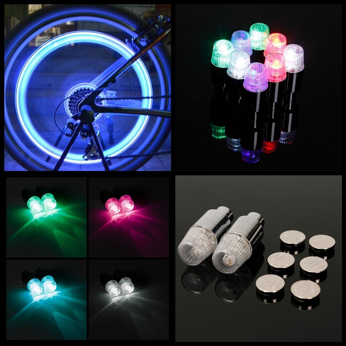 4*Bicycle LED Wheel Light Bike Tire Neon Lamp Car Motorcycle Valve Stem Dust Cap