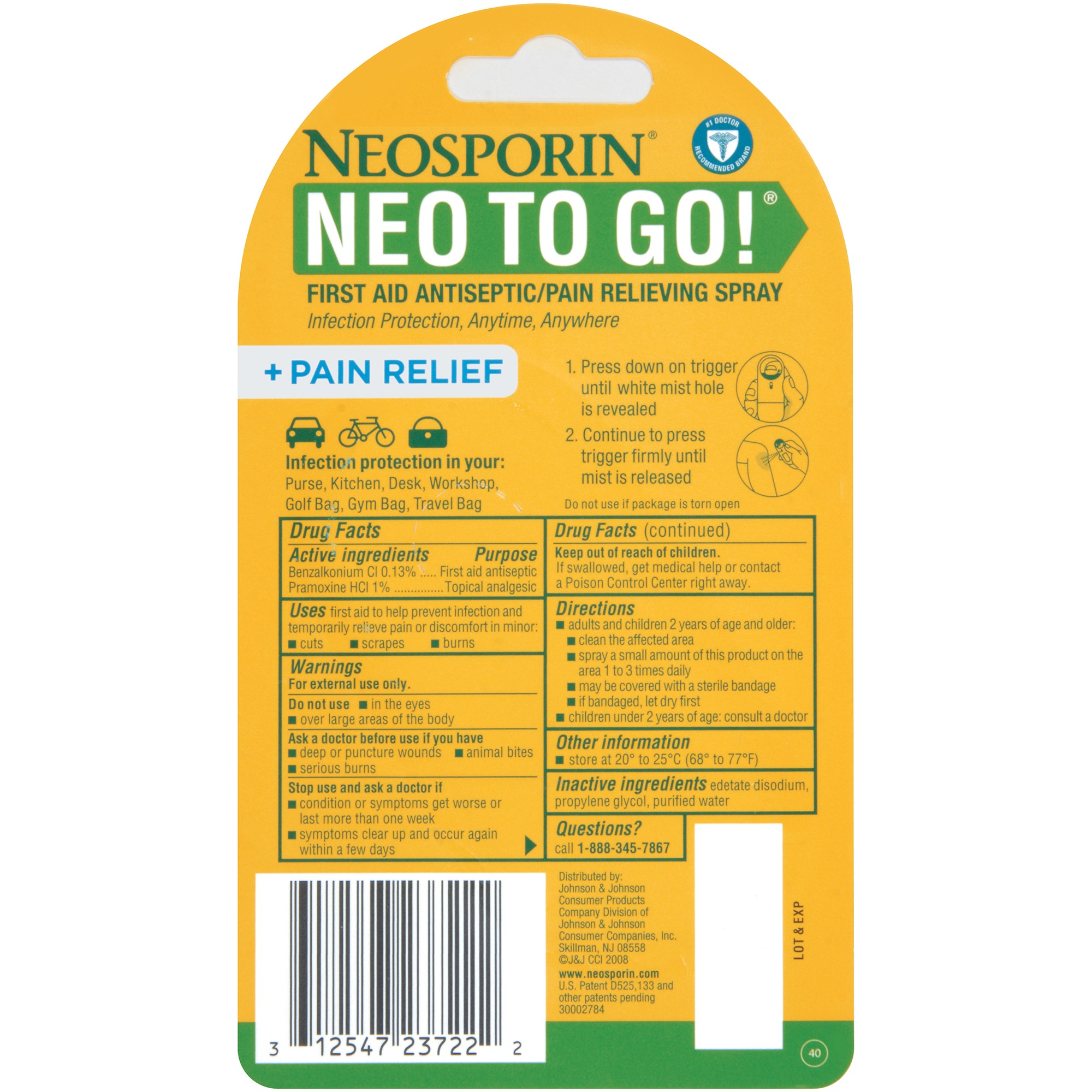 Neosporin + Pain Relief Neo To Go! First Aid Antiseptic/Pain Relieving  Spray, 26 Oz