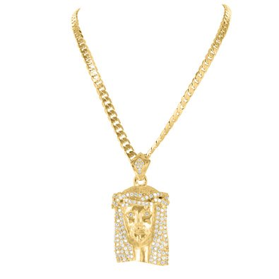 14K Yellow Gold Finish Cubic Zirconia Religious Jesus Face Pendant Franco Chain