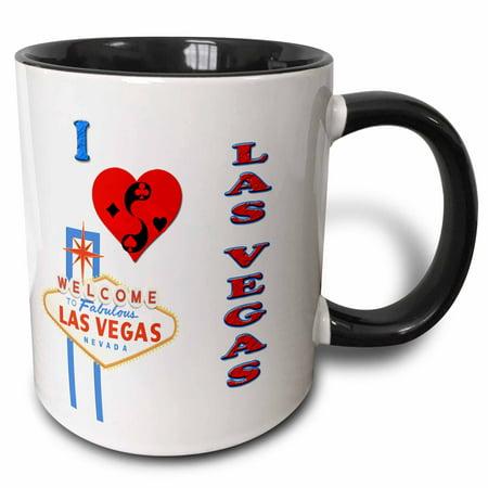 3dRose I love las vegas. Nevada. Playing cards. Casino. Popular saying. - Two Tone Black Mug, 11-ounce Casino Las Vegas Glass