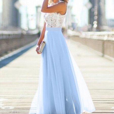 Elegant Women Lady Chiffon Wedding Long Formal Dress Party Sleeveless Lace High Waist Sundress Maxi Dress Blue Size S