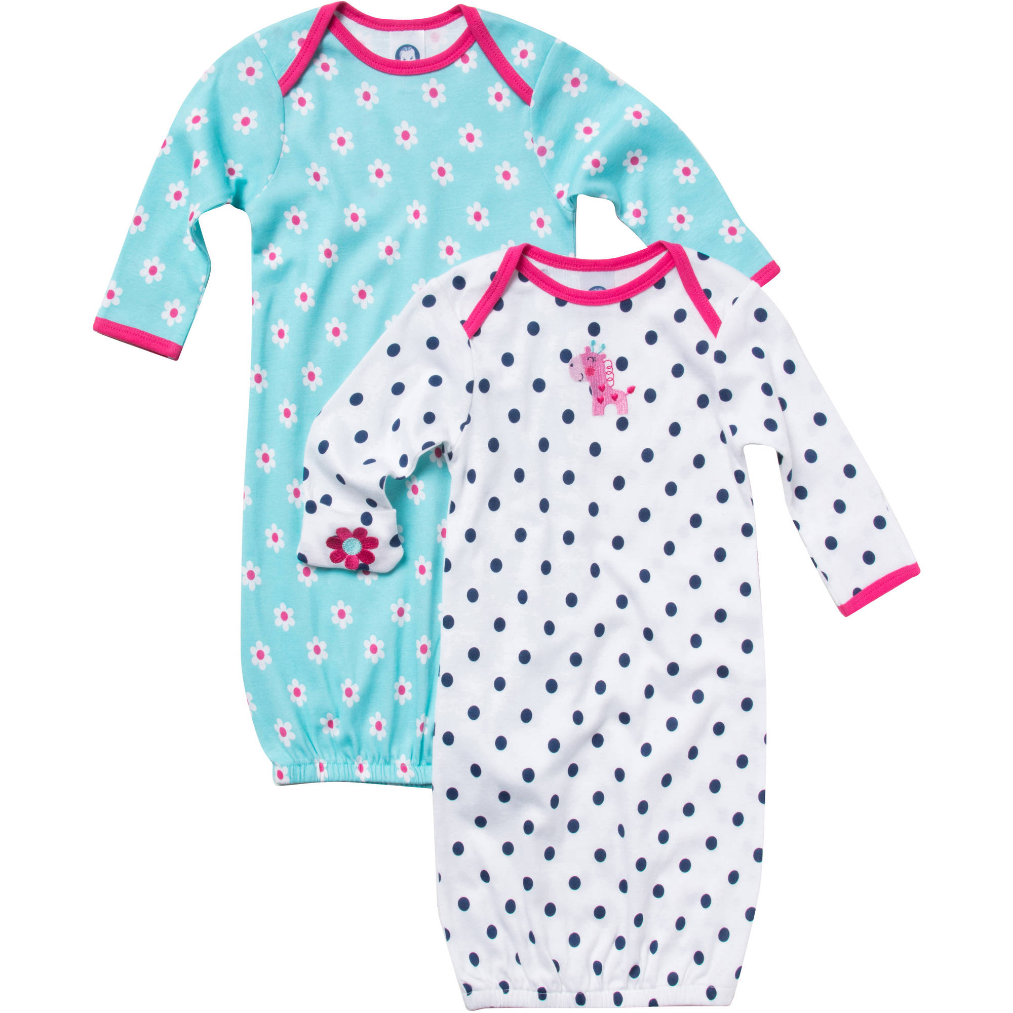 Gerber Newborn Baby Girl Giraffe Lap Shoulder Gown - 2 Pack