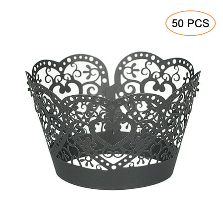 Lace Cupcake Liners (50pcs/set Paper Cupcake Wrappers Laser Cut Lace Cake Cup Liners Trays Baking Decorations)