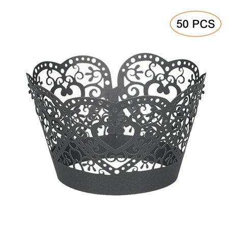 Laser Cut Cupcake Holders - 50pcs/set Paper Cupcake Wrappers Laser Cut Lace Cake Cup Liners Trays Baking Decorations Supplies--Black