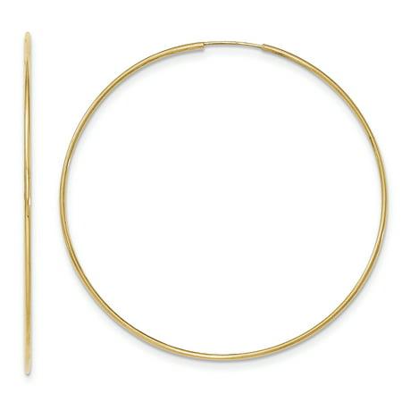 10K Yellow Gold Polished Endless Tube Hoop Earrings - image 2 de 2