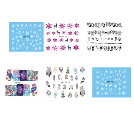 Holiday Time Christmas Snowflakes Flowers Nail Decals Stickers Reindeer Socks Wraps Manicure DIY Dream Catcher Nail Decor](Christmas Nail Decals)