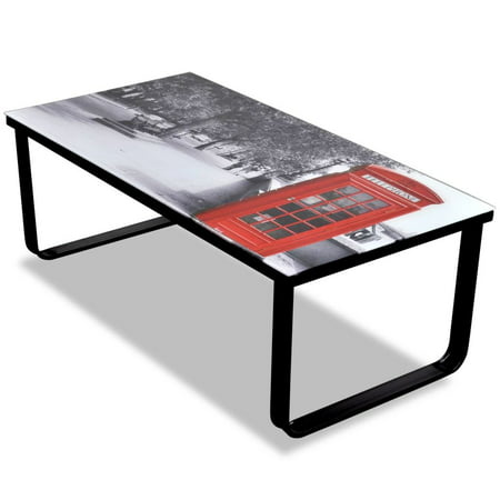 Coffee Table with Telephone Booth Printing Glass Top Tempered Glass Side Table Coffee Desk