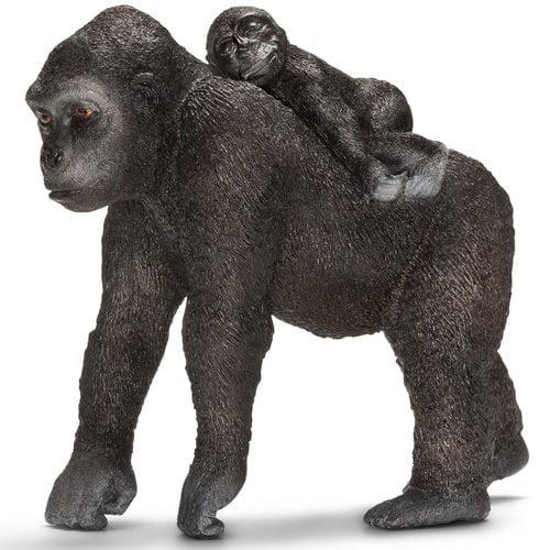 Schleich Gorilla Female with Young Animal Figurine