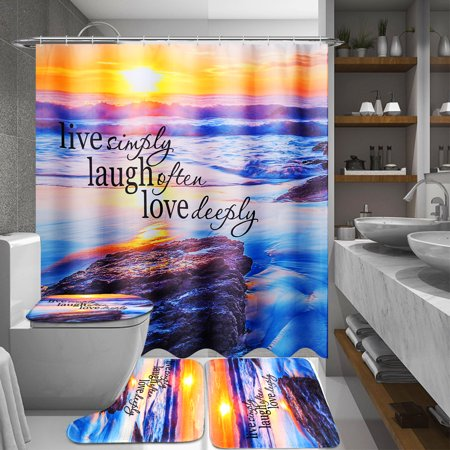 70.8 x 70.8 inches Waterproof Fabric Shower Curtain With 12 Hooks OR 3 Pcs Toilet Cover Mats Non-Slip Rugs Bathroom Set ()