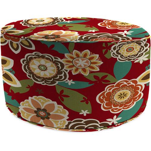 Jordan Manufacturing Round Outdoor Patio Pouf Ottoman, Annie Cherry
