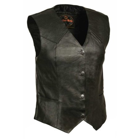 Leather King Women's Classic Four Snap Vest SH1227
