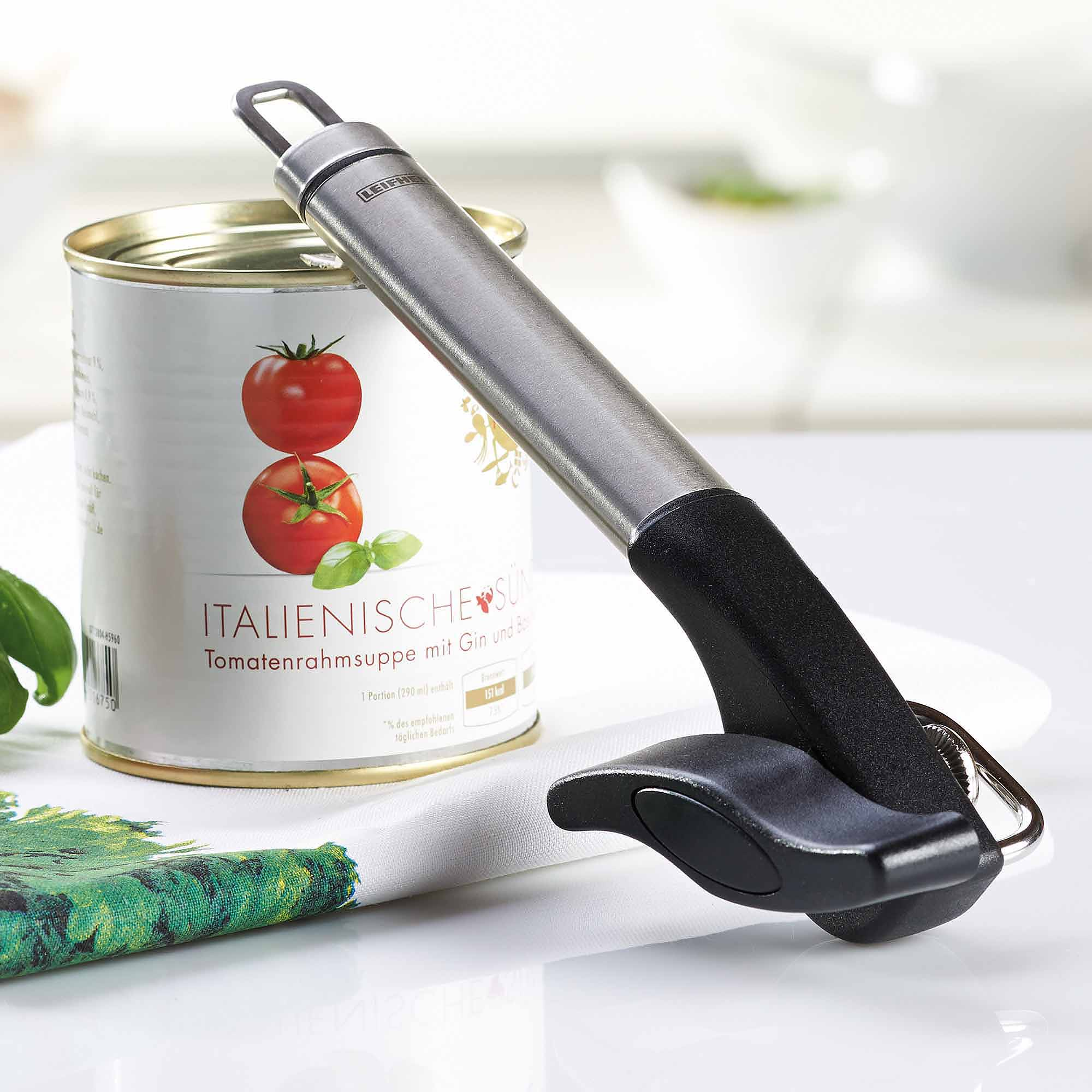 Leifheit Stainless Steel Safety Pro Single-Handle Can Opener, Black and Silver