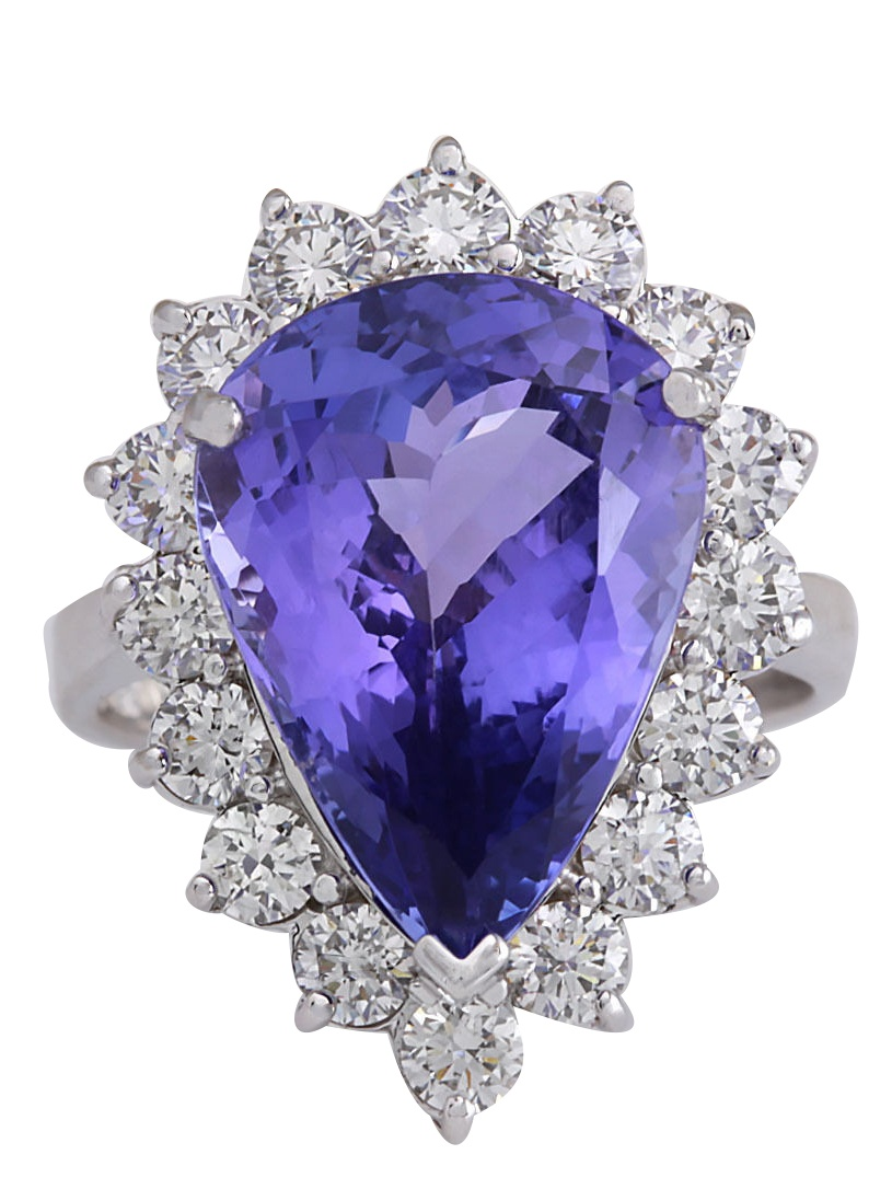 10.06CTW Natural Blue Tanzanite And Diamond Ring In 14K White Gold by