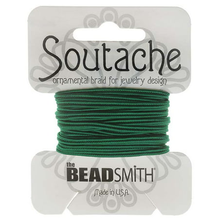 Soutache Cord - BeadSmith Soutache Braided Cord 3mm Wide - Forest Green (3 Yard Card)