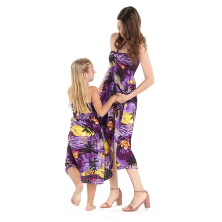 3f7ae6d7035 Matching Hawaiian Luau Mother Daughter Butterfly Dress in Sunset Purple M-4